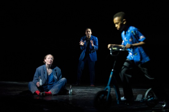 31. Knowledge (Penny Layden) and Everyman (Chiwetel Ejiofor) and Everyboy. Photo by Richard Hubert-Smith