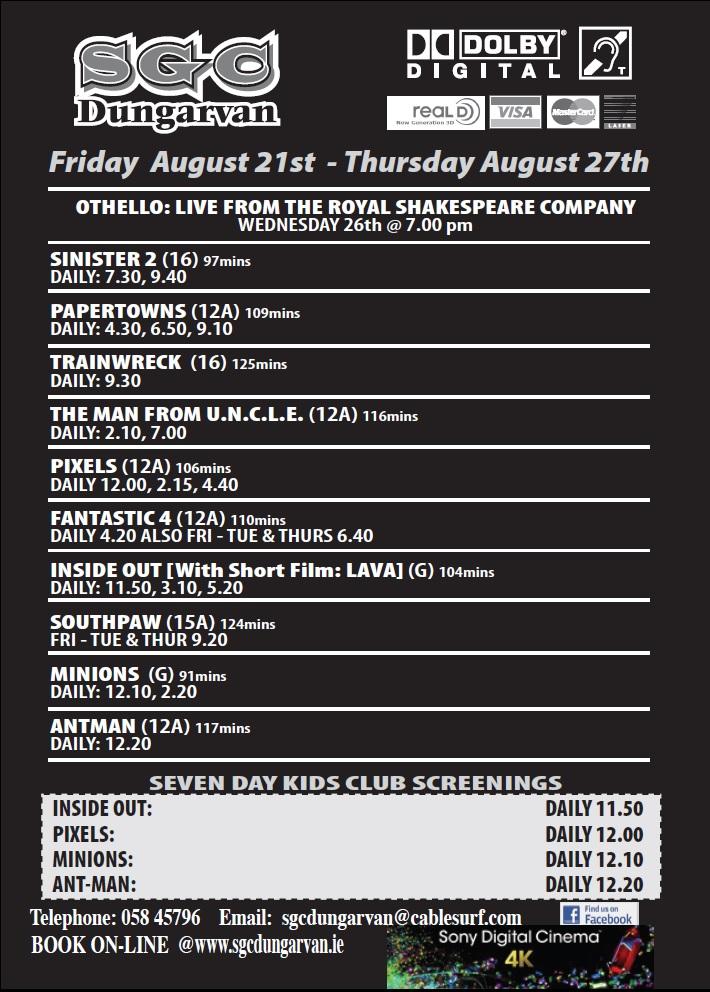 Movies listing Dungarvan
